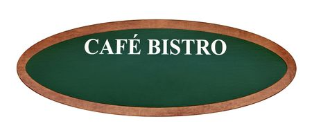 cafe bistro: French cafe bistro sign board oval shape isolated on white background