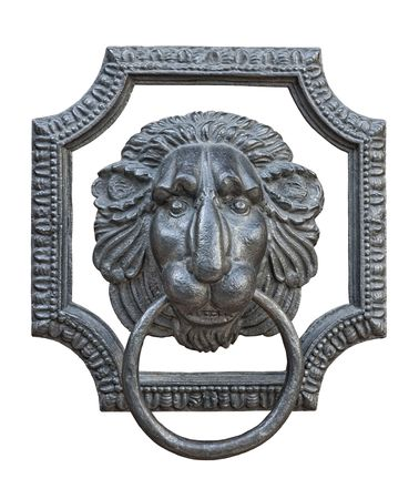 Old medieval iron door knocker in shape of lion head isolated on white background  Stock Photo - 6154564