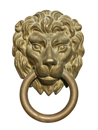 white lion: Old medieval bronze door knocker in shape of lion head isolated on white background