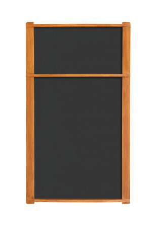 Blank menu chalkboard with two sections isolated on white background with clipping path