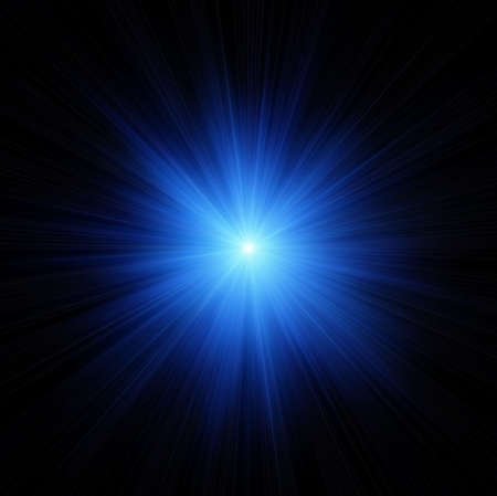 emanation: Blue star flash on black background