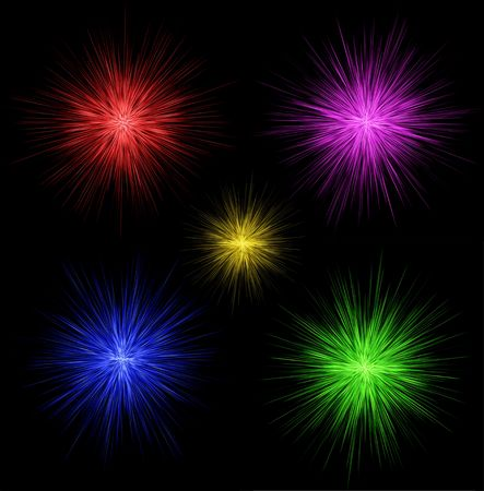 Colorful fireworks for design in red, magenta, blue, green, yellow colors Stock Photo - 6263514