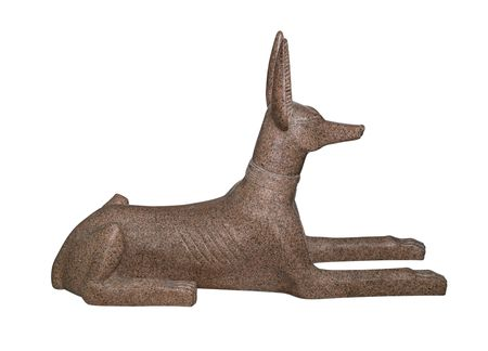 anubis: Egyptian souvenir, Anubis, God of Dead, made of pink granite, isolated on white background Stock Photo