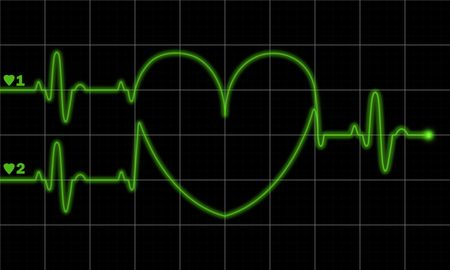 taking pulse: Two pulse traces forming valentine shape on electrocardiograph monitor. Also consider as child-bearing new life concept. Stock Photo