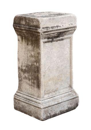 weatherworn: Ancient roman stone pedestal empty half-turned isolated on white background