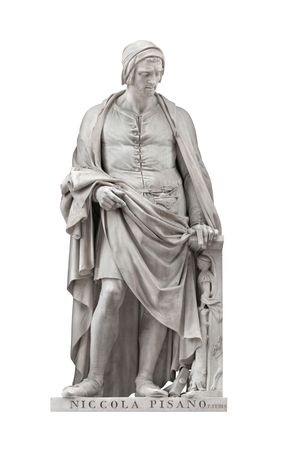 pio: Niccola Pisano statue on facade of Uffizi Gallery created by Pio Fedi in 1849. Isolated on white background with clipping path.
