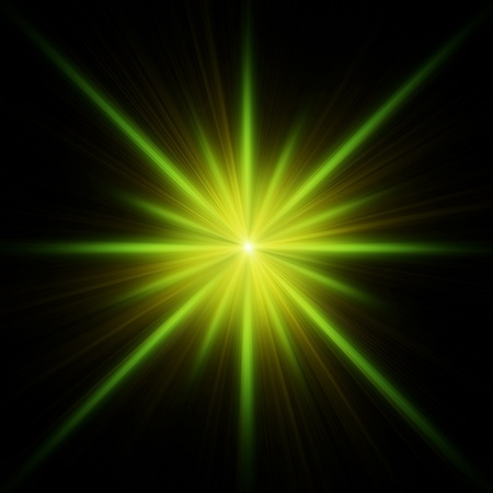 Green star flash with spikes on black background Stock Photo - 8423469