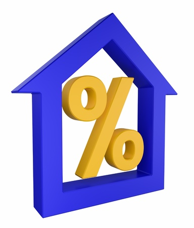 percentages: House model with percent sign 3d Render Stock Photo