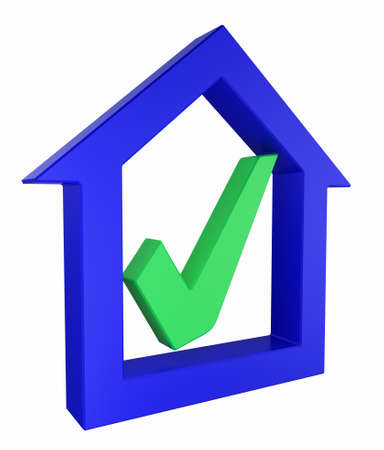 approvement: House model with tick mark Stock Photo