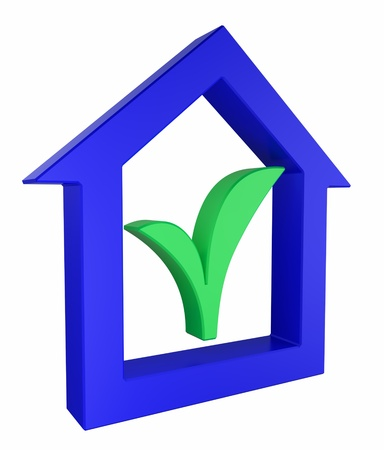 house renovation: House icon with green sprout symbol Stock Photo