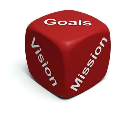 doelen: Red dobbelstenen met woorden visie, missie, doelstellingen definiëren elk bedrijf bedrijfsstrategie