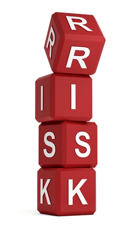 jeopardy: Risk word on red cubes with upper one being unsafe