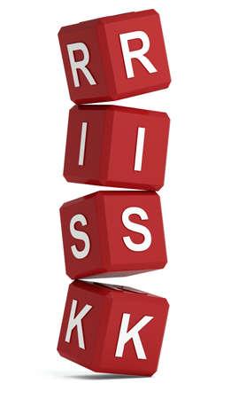 risiko: Risiko Wort auf rote W�rfel fallen auseinander