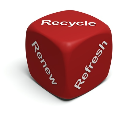 amended: Red Dice with words Renew, Refresh, Recycle on faces