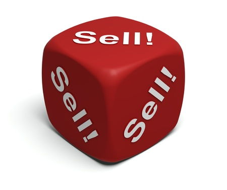 Red Dice with every seller's motto Sell! Sell! Sell! Stock Photo - 9221575