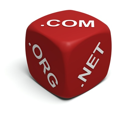 domains: Red Dice with Internet domain names on faces