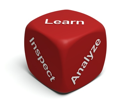 analyze: Red Dice with words Inspect, Analyze, Learn on faces Stock Photo
