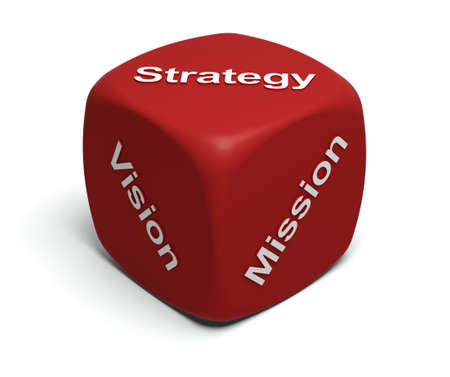 Red Dice with words Vision, Mission, Strategy on faces Stock Photo