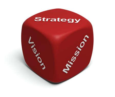 strategie: Rote W�rfel mit Worten Vision, Mission, Strategie f�r Gesichter