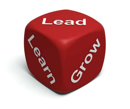 liderazgo: Dados de rojo con palabras aprender, crecer, plomo en caras Foto de archivo