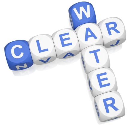 Clear water crossword on white background 3d render photo
