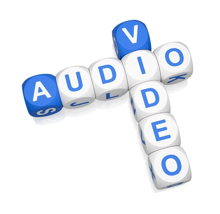 crossword puzzle: Audio Video crossword on white background 3d render