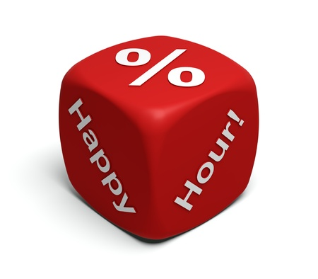 Red Dice with words Happy Hour and percent symbol on faces photo
