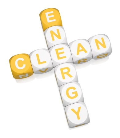 Clean Energy crossword on white background 3d render photo