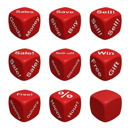 Red Dice Collection with words devoted to Retail photo