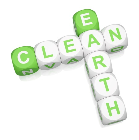 Clean Earth crossword on white background 3d render photo