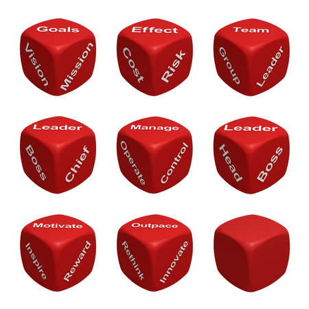 Red Dice Collection with words devoted to Management photo