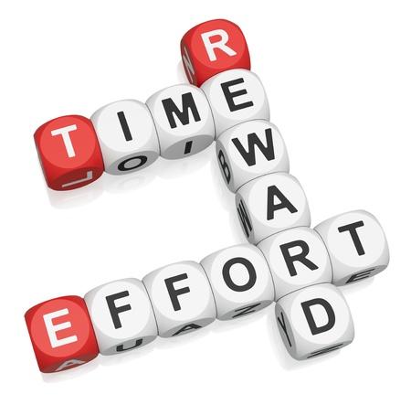 Time Effort Reward crossword on white background 3d render Stock Photo