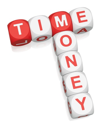 crossword puzzle: Time is Money crossword on white background 3d render