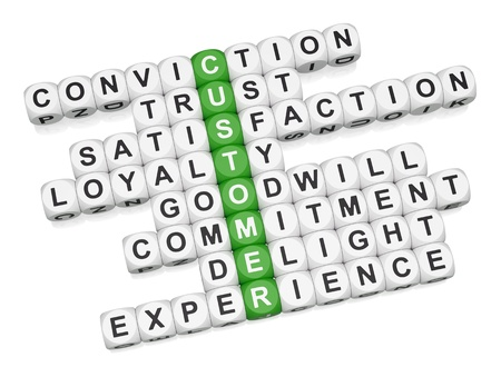 experiences: Customer positive experience crossword on white background 3D render
