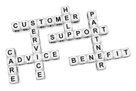 customer relationship: Customer benefit of quality service crossword on white background 3d render