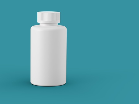 pill bottle: White plastic bottle with copy space over sea green background