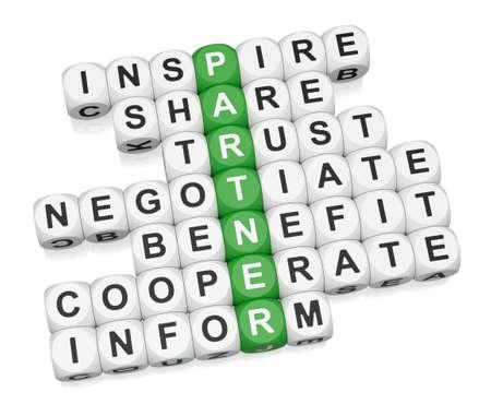 n�gocier: Crossword des relations partenaires sur fond blanc de rendu 3d