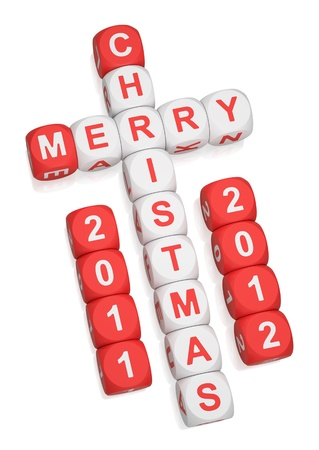 Merry Christmas 2012 greeting crossword on white background 3d render Stock Photo - 9376417