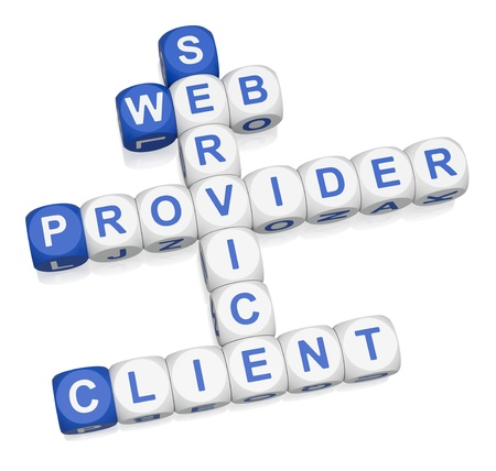 service provider: Web services crossword on white background