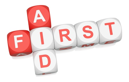 First Aid crossword on white background Stock Photo