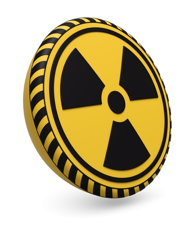 Target icon with radioactive warning symbol on white background 3d render photo