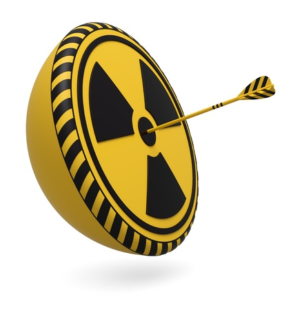 radioactive warning symbol: Target icon with radioactive warning symbol and one arrow on white background 3d render
