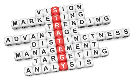 distinctness: Business strategy crossword on white background 3d render Stock Photo