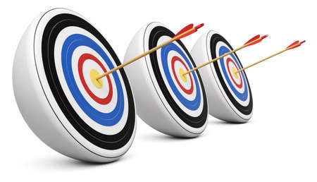 Three targets hit with Bulls-Eye shot on white background 3d render