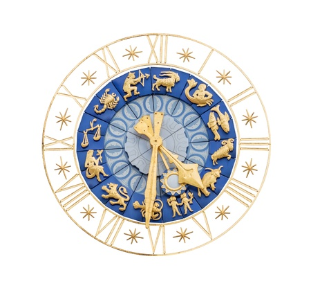 numeros romanos: Reloj medieval con números romanos dorados y los signos del zodiaco aisladas sobre fondo blanco