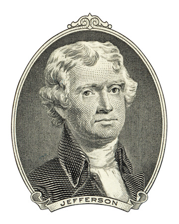 two dollar bill: Portrait of third U.S. president Thomas Jefferson as he looks on two dollar bill obverse. Clipping path included.