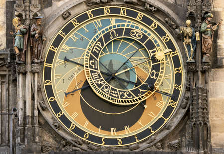 czech culture: Prague Orloj astronomical clock on town hall tower