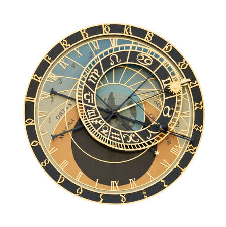 czech culture: Prague Orloj astronomical clock isolated on white with clipping