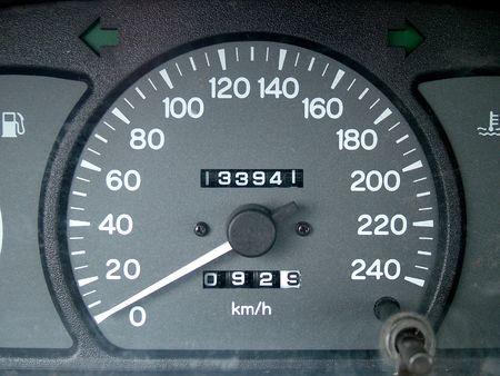 mileage: Close up of dashbord