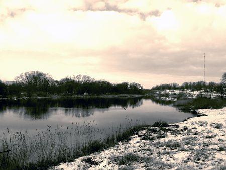 cape mode: Flusslandschaft, Sepia-Modus Lizenzfreie Bilder